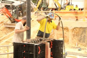 Pouring columns with Geopanel Star Formwork at Donvale